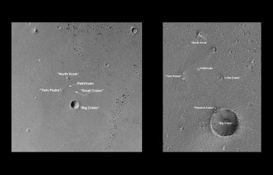 On its 256th orbit of Mars, NASA's Mars Global Surveyor spacecraft successfully observed the vicinity of Pathfinder's landing site.