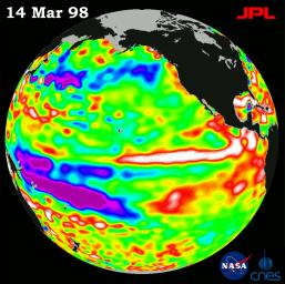 TOPEX/El Ni�o Watch - Satellite shows El Ni�o-related Sea Surface Height, Mar, 14, 1998