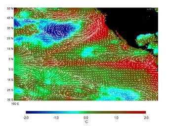 This image displays wind measurements taken by the satellite-borne NASA Scatterometer (NSCAT) during the last 10 days of May 1997, showing the relationship between the ocean and the atmosphere at the onset of the 1997-98 El Ni�o condition.