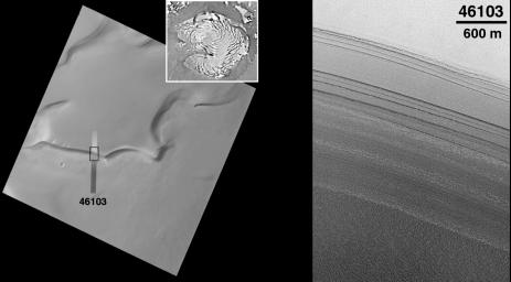 This image from NASA's Mars Global Surveyor taken on July 30, 1998, shows a slope along the edge of the permanent north polar cap of Mars that has dozens of layers exposed in it.