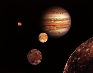 Jupiter and its four planet-size moons, called the Galilean satellites, were photographed in early March, 1980, by NASA's Voyager 1 and assembled into this collage. They are not to scale but are in their relative positions