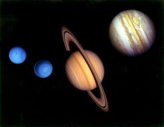 This montage of images of the planets visited by Voyager 2 was prepared from an assemblage of images taken in 1980 by NASA's Voyager 2 spacecraft.