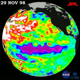 This image of the Pacific Ocean was produced using sea-surface height measurements taken by NASA's U.S.-French TOPEX/Poseidon satellite showing sea surface height relative to normal ocean conditions on November 29, 1998.