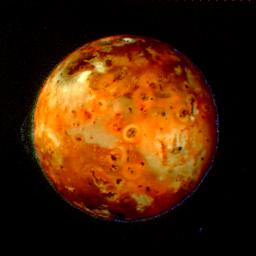 NASA'S Voyager 2 shows that Io's volcanos continually resurface it, so that any impact craters have disappeared.