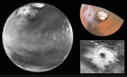 Hubble Views Colossal Polar Cyclone on Mars