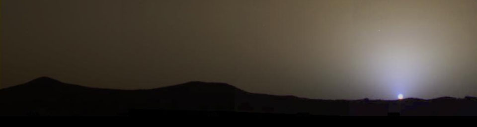 The brownish gray sky as it would be seen by an observer on Mars in this four-frame, true color mosaic taken on sol 24, 1997, by NASA's Mars Pathfinder.