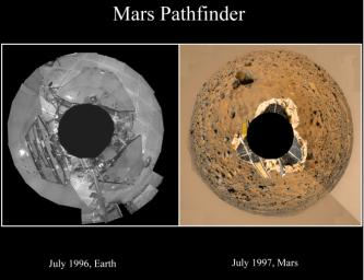 This set of images shows NASA's Mars Pathfinder lander in a cleanroom at JPL in 1996 on the left, and on Mars in 1997.