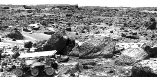 Sojourner Rover Leaving the Rock Garden - Right Eye
