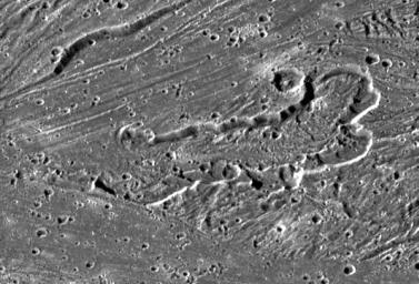 NASA's Galileo imaging camera targeted an area in Sippar Sulcus on Jupiter's moon, Ganymede. Images obtained in 1979 by NASA's Voyager spacecraft showed that the area contained curvilinear and arcuate scarps or cliffs.