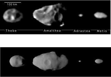 The upper series of images represents the best yet of the four small inner satellites of Jupiter taken by the camera on NASA's Galileo spacecraft. From left to right, in order of decreasing distance to Jupiter, are Thebe, Amalthea, Adrastea and Metis.