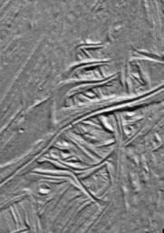 These cracks and ridges in the south polar region of Jupiter's moon Europa have been rotated into sigmoidal or 'S' shapes by the motion of Astypalaea Linea, a strike-slip fault in the moon's icy surface. Images were captured by NASA's Galileo spacecraft.