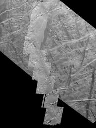 This mosaic of the south polar region of Jupiter's moon Europa from NASA's Galileo spacecraft shows the northern 290 kilometers of a strike-slip fault named Astypalaea Linea. The entire fault is about 810 kilometers (500 miles) long.