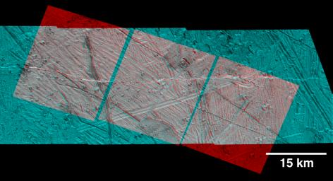 Rugged Terrain on Europa in 3-D Stereo