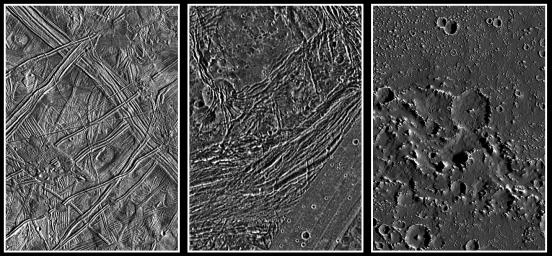 These images from NASA's Galileo spacecraft show a comparison of the surfaces of the three icy Galilean satellites, Europa, Ganymede, and Callisto, scaled to a common resolution of 150 meters per picture element (pixel).