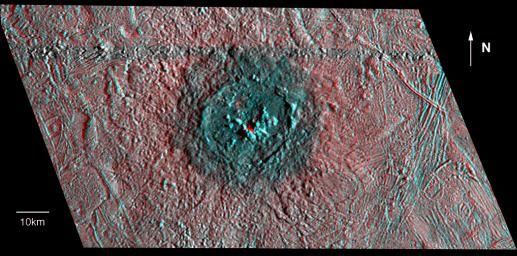 The anaglyph shows Pwyll crater on Jupiter's icy satellite Europa, captured by NASA's Galileo Orbiter. 3D glasses are necessary to identify surface detail.