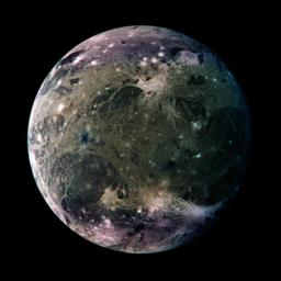 NASA's Galileo spacecraft took this global view of Jupiter's moon, Ganymede's trailing side in March, 1988. The colors are enhanced to emphasize color differences.