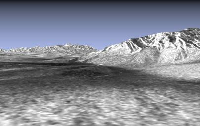 This picture is a three-dimensional perspective view of Death Valley, California from NASA's Spaceborne Imaging Radar-C/X-band Synthetic Aperture Radar. Sand dunes are seen near Stove Pipe Wells and a large alluvial fan.