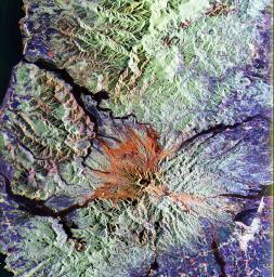 This is a false color image from NASA's Spaceborne Imaging Radar-C/X-band Synthetic Aperture Radar of the area around Mount Pinatubo in the Philippines, centered at about 15 degrees north latitude, 120.5 degrees east longitude.