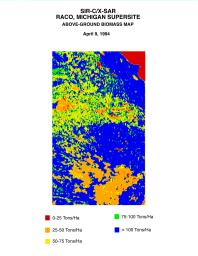This biomass map of the Raco, Michigan, area was produced from data acquired by NASA's Spaceborne Imaging Radar C/X-Band Synthetic Aperture Radar (SIR-C/X-SAR) onboard space shuttle Endeavour.