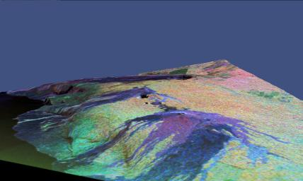 This is a three-dimensional perspective view of a false-color image of the eastern part of the Big Island of Hawaii.