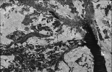 This is an image from NASA's Spaceborne Imaging Radar-C/X-band Synthetic Aperture Radar of the Chernobyl nuclear power plant and its surroundings, centered at 51.17 north latitude and 30.15 west longitude.