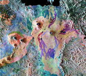 This is a false-color composite of Central Africa, showing the Virunga volcano chain along the borders of Rwanda, Zaire and Uganda. This area is home to the endangered mountain gorillas.