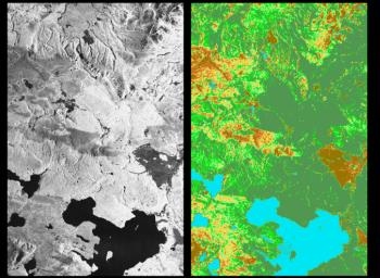 These two images from NASA's Spaceborne Imaging Radar C/X-Band Synthetic Aperture Radar show the majestic Yellowstone National Park, Wyoming, the oldest national park in the United States and home to the world's most spectacular geysers and hot springs.