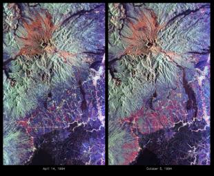 These are color composite radar images showing the area around Mount Pinatubo in the Philippines. The images were acquired by NASA's Spaceborne Imaging Radar-C and X-band Synthetic Aperture Radar (SIR-C/X-SAR) aboard the space shuttle Endeavour.