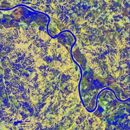 This is a false-color L-band image of an area near Glasgow, Missouri, centered at about 39.2 degrees north latitude and 92.8 degrees west longitude.