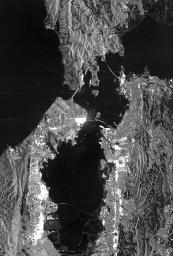 This is a radar image of San Francisco, California, taken on October 3,1994. The image is about 40 kilometers by 55 kilometers (25 miles by 34 miles) with north toward the upper right.