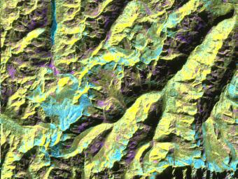 This is a digital elevation model that was geometrically coded directly onto an X-band seasonal change image of the Oetztal supersite in Austria.