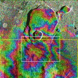 Data acquired on April 13, 1994 and on October 4, 1994 from NASA's X-band Synthetic Aperture Radar on board the space shuttle Endeavour were used to generate interferometric fringes, which were overlaid on the X-SAR image of Kilauea.