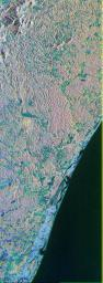 This is a color composite image of southern Bahia, Brazil, centered at 15.22 degree south latitude and 39.07 degrees west longitude.