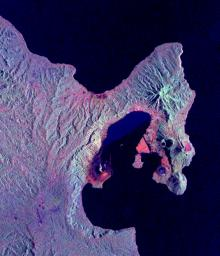 This is a radar image NASA's Spaceborne Imaging Radar-C/X-band Synthetic Aperture Radar of the Rabaul volcano on the island of New Britain, Papua, New Guinea taken almost a month after its September 19, 1994.