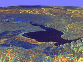 This three-dimensional perspective view of Long Valley, California was created from data taken by NASA's Spaceborne Imaging Radar-C/X-band Synthetic Aperture Radar on board the space shuttle Endeavour.