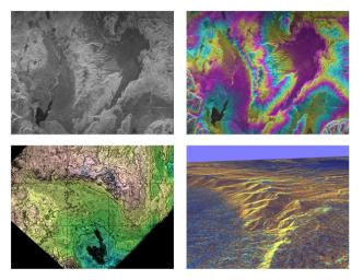 These four images of the Long Valley region of east-central California illustrate the steps required to produced three dimensional data and topographics maps from radar interferometry.