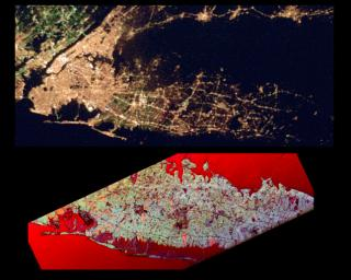 This pair of images NASA's Spaceborne Imaging Radar-C/X-band Synthetic Aperture Radar of the Long Island, New York region is a comparison of an optical photograph (top) and a radar image (bottom), both taken in darkness in April 1994.