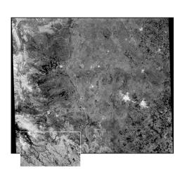 This radar image of the Midland/Odessa region of West Texas, demonstrates an experimental technique, called ScanSAR, that allows scientists to rapidly image large areas of the Earth's surface.