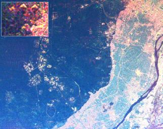 This radar image shows the area west of the Nile River near Cairo, Egypt. The Nile River is the dark band along the right side of the image and it flows approximately due North from the bottom to the right.