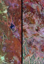 These radar images show two segments of the Great Wall of China in a desert region of north-central China, about 700 kilometers (434 miles) west of Beijing.
