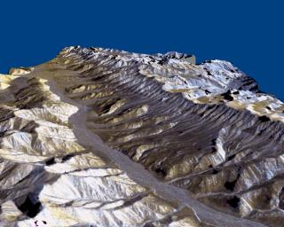 This three-dimensional perspective of the remote Karakax Valley in the northern Tibetan Plateau of western China was created by combining two spaceborne radar images using a technique known as interferometry.