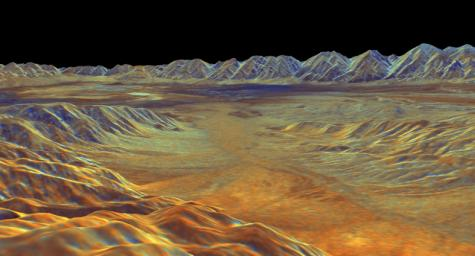 This is a three-dimensional perspective view of Saline Valley, about 30 km (19 miles) east of the town of Independence, California created by combining two spaceborne radar images using a technique known as interferometry.