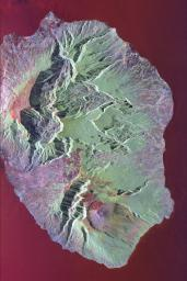 This radar image shows the volcanic island of Reunion, about 700 km (434 miles) east of Madagascar in the southwest Indian Ocean. The southern half of the island is dominated by the active volcano, Piton de la Fournaise.