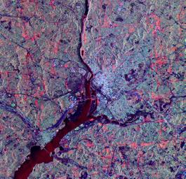 The city of Washington, D.C., is shown is this space radar image from NASA's Spaceborne Imaging Radar-C/X-band Synthetic Aperture.
