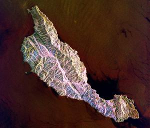This space radar image shows the rugged topography of Santa Cruz Island, part of the Channel Islands National Park in the Pacific Ocean off the coast of Santa Barbara and Ventura, Calif.