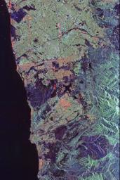 Space Radar Image of Orange County, California (annotated version)