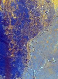 This spaceborne radar image from NASA's Spaceborne Imaging Radar C/X-Band Synthetic Aperture Radar shows the area just north of the city of Cairo, Egypt, where the Nile River splits into two main branches.