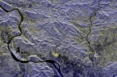 Space Radar Image of Mineral Resources, China