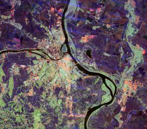 This spaceborne radar image of Belgrade, Serbia, illustrates the variety of land use patterns that can be observed with a multiple wavelength radar system.