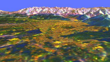 This is a three-dimensional perspective view of Missoula, Montana, created by combining two spaceborne radar images using a technique known as interferometry.